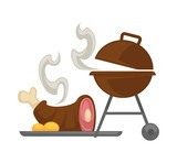 Barbecue grill meat cooking vector icon - 203523773