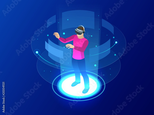 Isometric Man wearing goggle headset with touching vr interface. Into virtual reality world. Future technology - 203541131