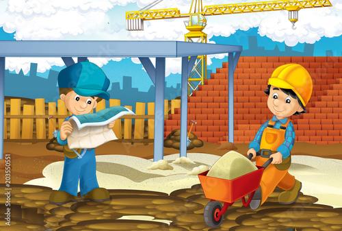 cartoon scene with men working doing industrial jobs - illustration for children - 203550551