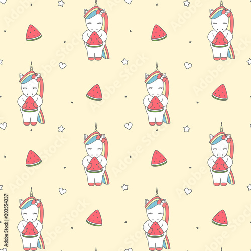 cute cartoon illustration with unicorn eating watermelon slice seamless vector pattern background illustration