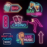 A collection of Neon night life light signs including, bars, casino and  live music. Vector illustration