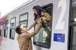Leinwanddruck Bild - arrival by train