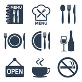 Fototapety Restaurant icons set on white background.