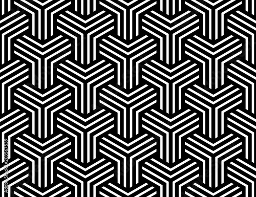 Fototapeta Seamless op art pattern. Illusion of interlacing.