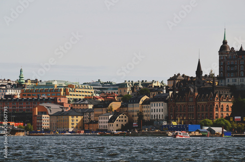 Plexiglas Stockholm Cityscape view of Stockholm's old town in famous Gamla Stan area densely situated by archaic buildings influenced by North German architecture