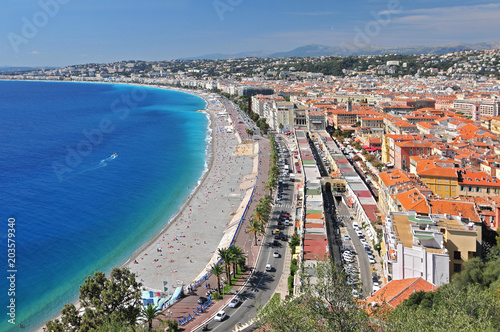 Plexiglas Nice Promenade des Anglais, The Marche aux Fleurs and the city of Nice from the Parc de Colline du Chateau.