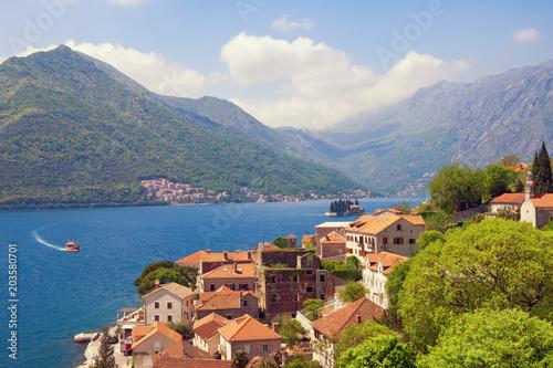 Plexiglas Blauwe hemel Summer Mediterranean landscape. Montenegro, view of Perast town. Travel, vacation concept