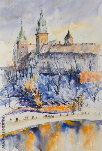 smok-symbol-polskiego-miasta-krakow-spiacy-pod-wawelem-obraz-utworzony-za-pomoca-akwarel