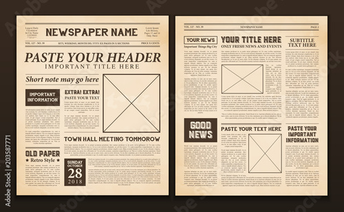 Newspaper Pages Template Vintage