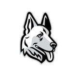 Mascot icon illustration of head of a  German Shepherd or Alsatian wolf dog  viewed from side on isolated background in retro style. - 203592357