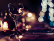 Romantic Wine Glass with Candles