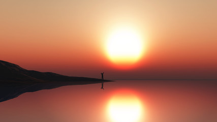 3D landscape with man standing at the sea edge against a sunset sky © Kirsty Pargeter