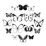 Butterfly set icons in simple style for any design