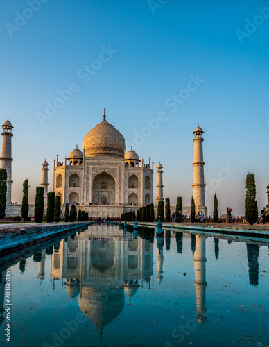 The Front of Taj Mahal in Agra India with its Reflecting Pool
