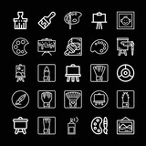 Set of 25 painting outline icons