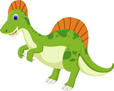 Fototapeta Dinusie - cute dinosaur cartoon standing with waving and laugh © jihane37