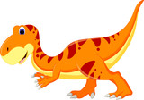 funny t-rex cartoon posing with smile and waving