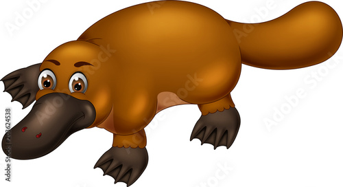 funny platypus cartoon posing with smile