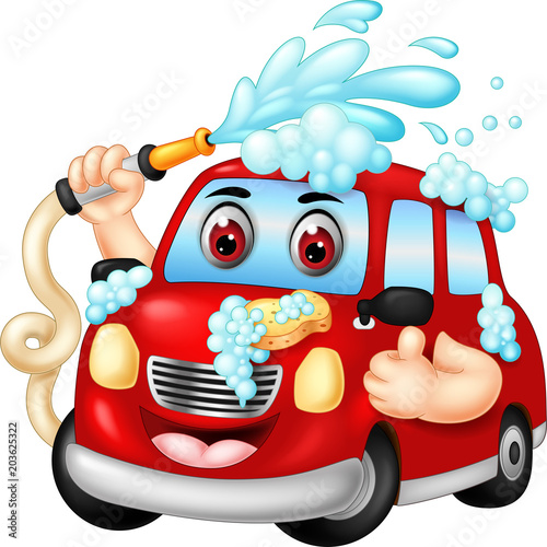 Fotobehang Auto funny car wash cartoon posing with laughing and thumb up