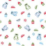 vector seamless color pattern houses, cars, teddy bears