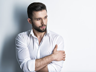 Handsome man in white shirt. Closeup portrait. © Valua Vitaly