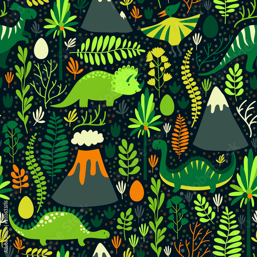 Cotton fabric Vector seamless pattern with different dinosaurs, floral elements and mountains. Cute hand drawing cartoon characters. Childish bright repeated texture for wallpaper, fabrics and different surfaces.