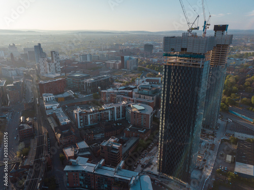 Canvas New York Manchester City Centre Drone Aerial View Above Building Work Skyline Construction Blue Sky Summer