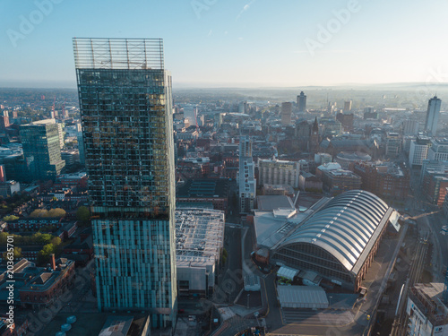 Fotobehang New York Manchester City Centre Drone Aerial View Above Building Work Skyline Construction Blue Sky Summer