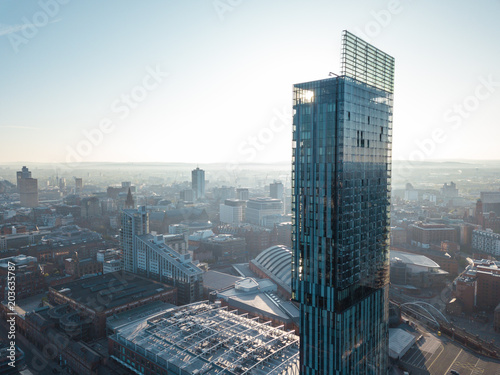 Manchester City Centre Drone Aerial View Above Building Work Skyline Construction Blue Sky Summer © Sam Foster