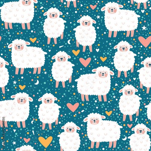 Fototapeta Vector seamless pattern with cute sheep, heart, star and dots. Pink childish repeated texture with smiling cartoon characters.
