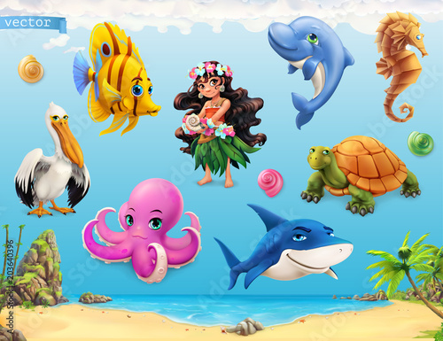 Little girl with a seashell. Funny sea animals and fishes. 3d vector icon set