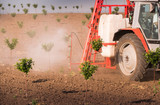 Tractor spraying pesticides on cherry orchard - 203644921