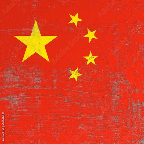 Fototapeta scratched China flag