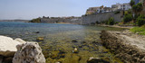 TRAPANI, ITALY - AUGUST 08th, 2017: The landscape of mediterranean sea with cityscape of Trapani on August 08, 2017 - 203657183