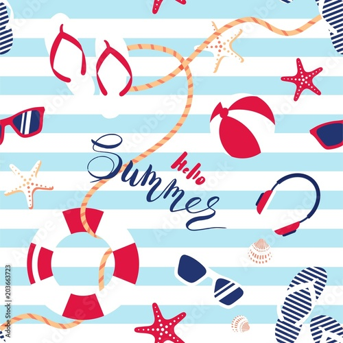 Materiał do szycia Summer seamless pattern. Cute summer marine striped background.  Vector illustration