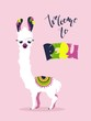 Welcome to Peru poster with cute cartoon lama and text