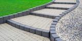 Flache Außentreppe Gartentreppe aus Betonsteinpflaster - Flat external stairs Garden stairs made of concrete block paving - 203668974