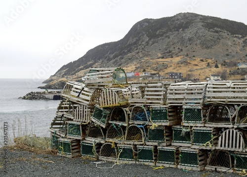 Canvas Canada closeup of a bunch of lobster traps, Portugal Cove Newfoundland Canada