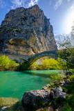 Vue sur le Verdon, le rocher (Roc) de Castellane et le pont du roc, Alpes de Haute Provence. Provence, France.