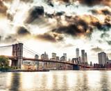 Manhattan skyline and Brooklyn Bridge view from Brooklyn Bridge Park at sunset, New York City - 203679956