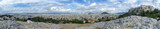 Panoramic view of Athens, Greece from the National Observatory of Athens (left) to Acropolis (right). Vantage point of Areopagus hill in Plaka. - 203682544