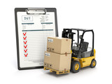 Delivery service concept. Forklift with parcel carton cardboard boxes and  clipboard with receipt form isolated on white. - 203683758