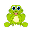 Cartoon frog cute character isolated on white background