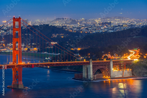 Plexiglas Bruggen Golden Gate bridge Sunset
