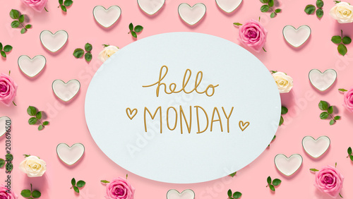 Hello Monday message with pink roses and hearts
