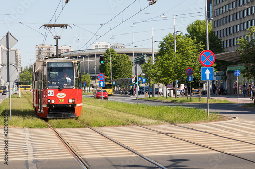Old Konstal 105Na tram passing on Rynek square, in the centre of Katowice, Silesia, Poland. © Curioso Photography