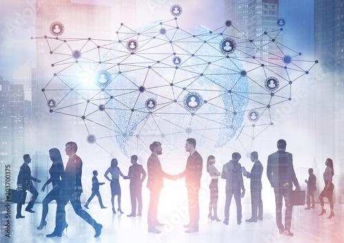 Leinwanddruck Bild Business people silhouettes, network