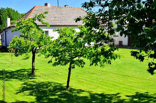 Aluminium Lime groen Biały domek i zielony trawnik wśród drzew na tle niebieskiego nieba.