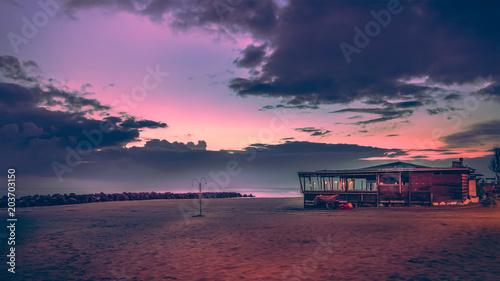Aluminium Zee zonsondergang beach sea kiosk