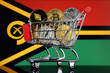 Quadro Shopping Trolley full of physical version of Cryptocurrencies (Bitcoin, Litecoin, Dash, Ethereum) and Vanuatu Flag.
